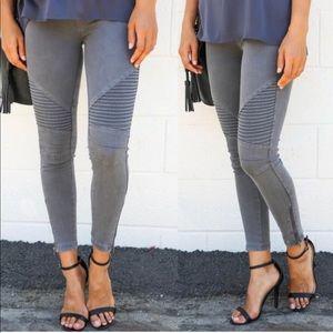 MINDY✨ moto pants skinny jeggings charcoal gray